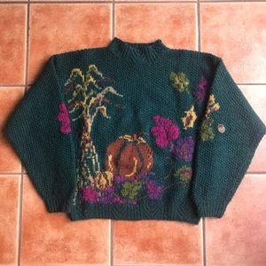 Woolrich Vintage Green Autumn Pumpkin Sweater Fall